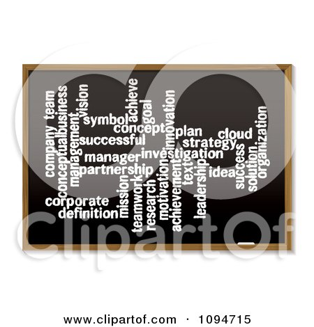 Clipart Business Word Cloud Collage On A Black Board - Royalty Free Vector Illustration by michaeltravers