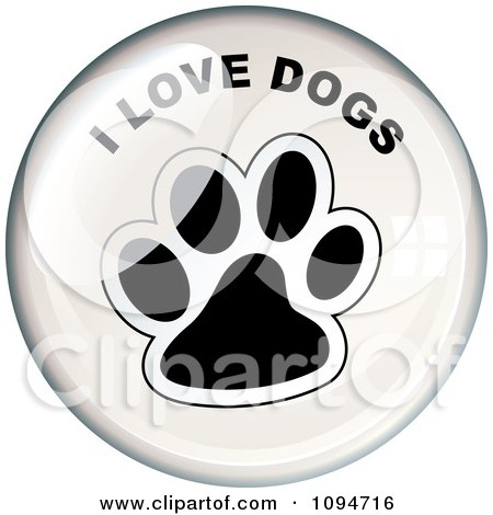 Clipart Oval Light Reflecting Off Of An I Love Dogs Paw Print Badge - Royalty Free Vector Illustration by michaeltravers