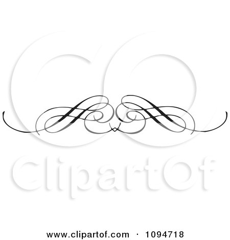 Clipart Black And White Ornate Swirl Rule Or Border 1 - Royalty Free Vector Illustration by BestVector
