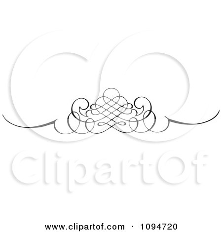 Clipart Black And White Ornate Swirl Rule Or Border 3 - Royalty Free Vector Illustration by BestVector