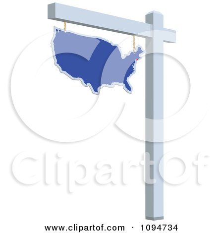 Clipart Blue Real Estate USA Map Sign - Royalty Free Vector Illustration by BestVector