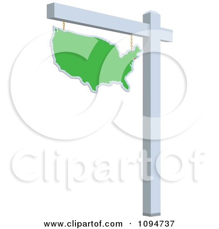 Clipart Green Real Estate USA Map Sign - Royalty Free Vector Illustration by BestVector
