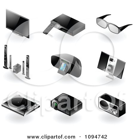 Clipart 3d Black Modern Tv And Radio Home Entertainment Icons - Royalty Free Vector Illustration by TA Images