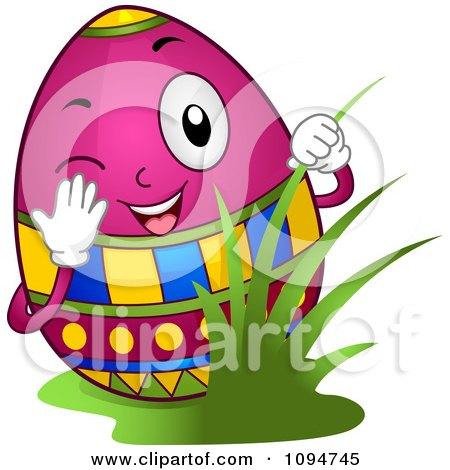 Clipart Happy Easter Egg Peeking Through Grass - Royalty Free Vector Illustration by BNP Design Studio