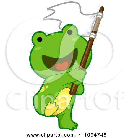 Clipart Cute Green Frog Waving A Flag - Royalty Free Vector Illustration by BNP Design Studio