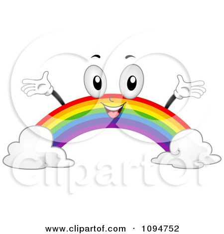 Clipart Happy Rainbow Holding Its Arms Up - Royalty Free Vector Illustration by BNP Design Studio