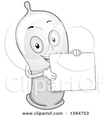 Clipart Happy Condom Holding A Blank Sign - Royalty Free Vector Illustration by BNP Design Studio