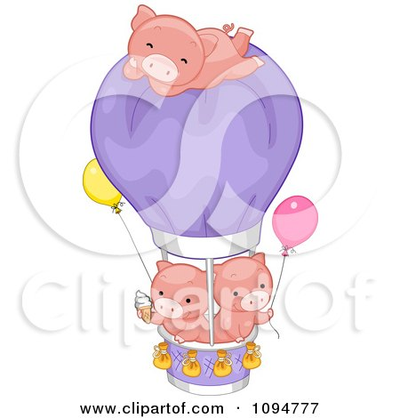 Clipart Three Cute Pigs With Ice Cream A Hot Air Balloon And Helium Balloons - Royalty Free Vector Illustration by BNP Design Studio