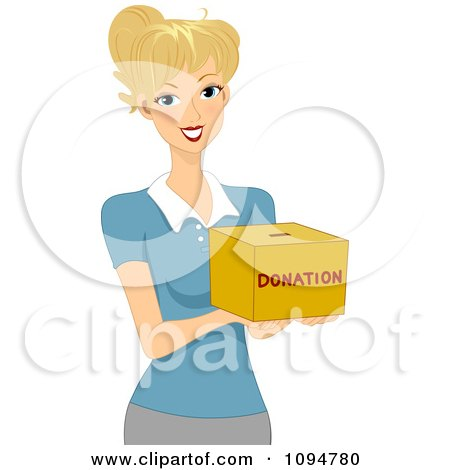 Clipart Smiling Blond Woman Holding Out A Donation Box - Royalty Free Vector Illustration by BNP Design Studio