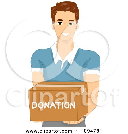 Clipart Smiling Brunette Man Holding Out A Donation Box - Royalty Free Vector Illustration by BNP Design Studio