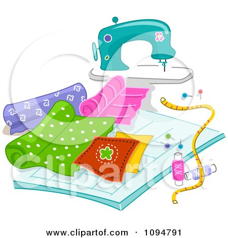 Clipart Sewing Machine With Quilting Fabric - Royalty Free Vector Illustration by BNP Design Studio