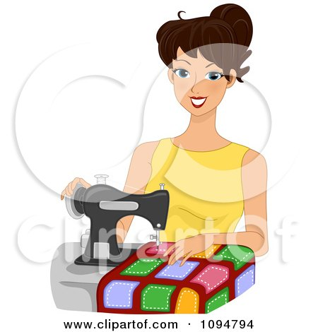 Happy Brunette Woman Sewing A Quilt Posters, Art Prints