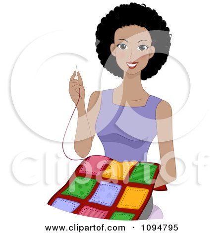 Happy Black Woman Smiling And Sewing A Quilt Posters, Art Prints