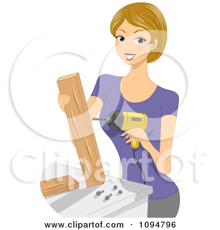 Clipart Smiling Blond Woman Using A Power Drill On Wood - Royalty Free Vector Illustration by BNP Design Studio
