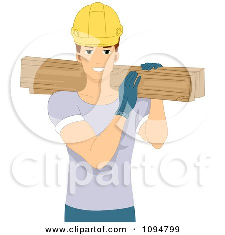 Clipart Smiling Construction Worker Man Carrying Lumber Over His Shoulder - Royalty Free Vector Illustration by BNP Design Studio