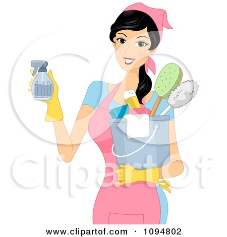 Clipart Smiling Woman Holding A Spray Bottle And Spring Cleaning Supplies - Royalty Free Vector Illustration by BNP Design Studio