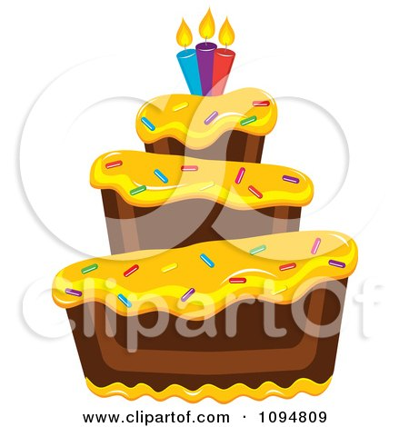 Pin Cartoon Frosted Birthday Cake In Pink Yellow Cake on ...