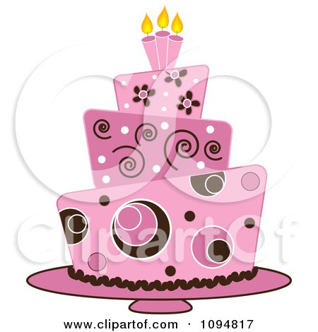 Clipart Pink And Brown Funky Layered Fondant Designed Cake - Royalty Free Vector Illustration by Pams Clipart