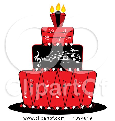 Clipart Red Black And White Music Layered Fondant Designed Cake - Royalty Free Vector Illustration by Pams Clipart