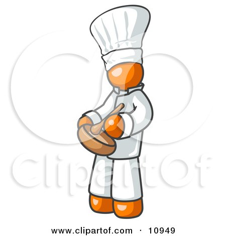 Orange Baker Chef Cook in Uniform and Chef's Hat, Stirring Ingredients in a Bowl Clipart Illustration by Leo Blanchette