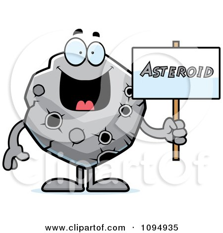 Clipart Asteroid Holding A Sign - Royalty Free Vector Illustration by Cory Thoman