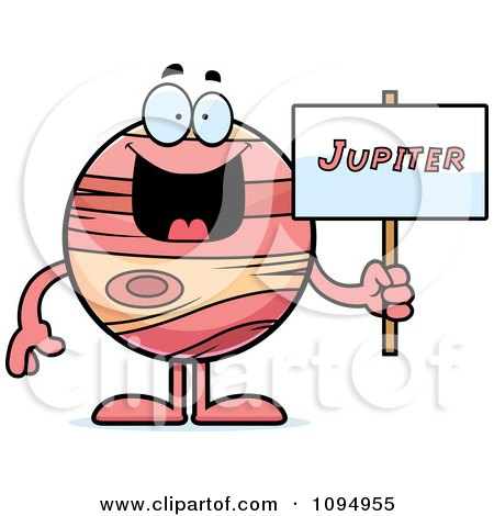 Clipart Planet Jupiter Holding A Sign - Royalty Free Vector Illustration by Cory Thoman