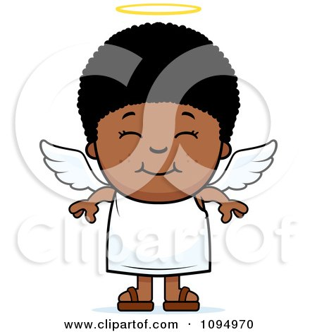Clipart Smiling Black Angel Boy - Royalty Free Vector Illustration by Cory Thoman