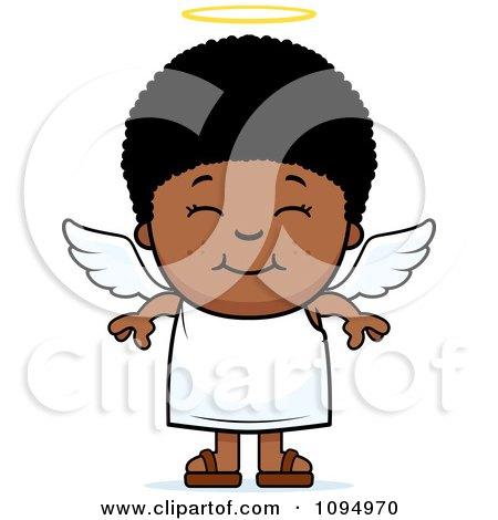 Smiling Black Angel Boy Posters, Art Prints