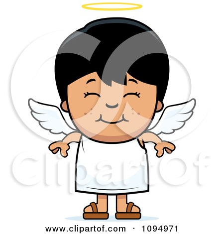 Clipart Smiling Black Haired Angel Boy - Royalty Free Vector Illustration by Cory Thoman