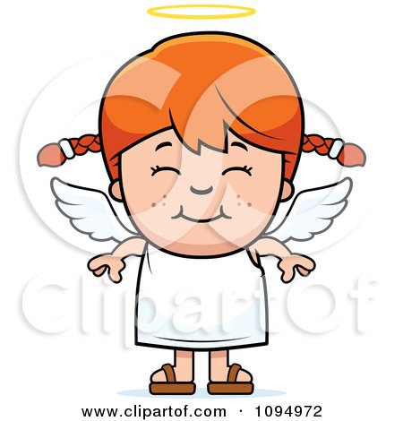 Clipart Smiling Red Haired Angel Girl - Royalty Free Vector Illustration by Cory Thoman