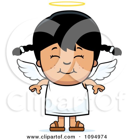 Clipart Smiling Black Haired Angel Girl - Royalty Free Vector Illustration by Cory Thoman