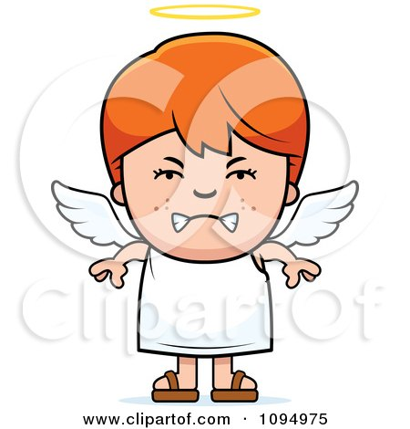 Clipart Mean Red Haired Angel Boy - Royalty Free Vector Illustration by Cory Thoman