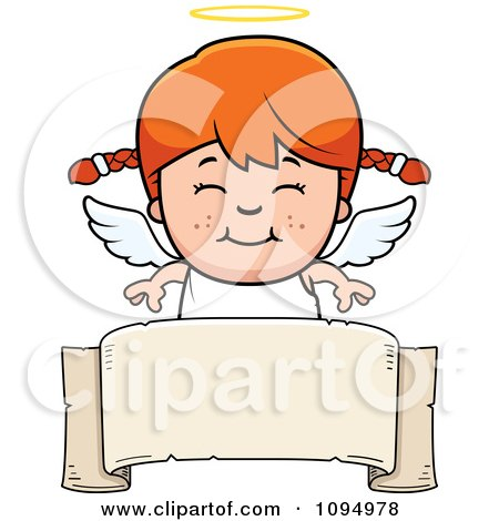 Clipart Smiling Red Haired Angel Girl Over A Banner - Royalty Free Vector Illustration by Cory Thoman
