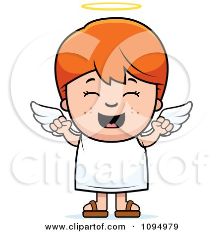 Clipart Happy Red Haired Angel Boy - Royalty Free Vector Illustration by Cory Thoman