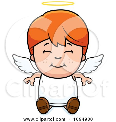 Clipart Smiling Sitting Red Haired Angel Boy - Royalty Free Vector Illustration by Cory Thoman