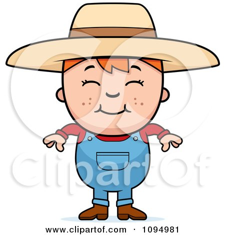 Clipart Smiling Red Haired Farmer Boy - Royalty Free Vector Illustration by Cory Thoman