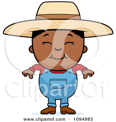 Clipart Smiling Black Farmer Boy Over A Banner - Royalty Free Vector Illustration by Cory Thoman