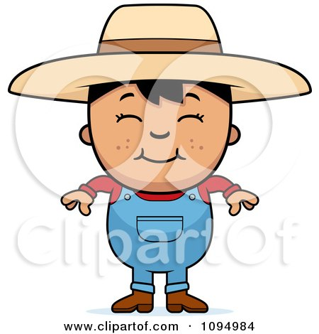 Clipart Smiling Black Haired Farmer Boy - Royalty Free Vector Illustration by Cory Thoman