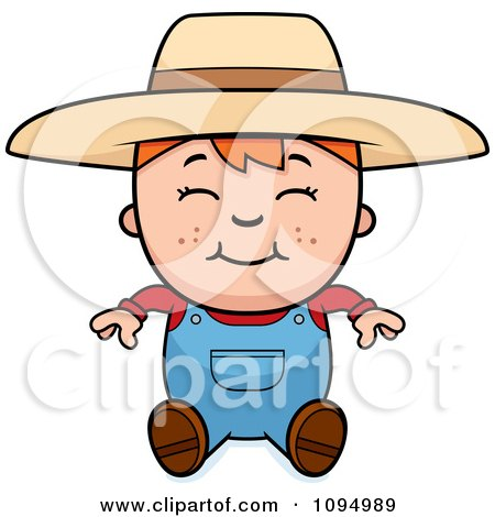 Clipart Sitting Red Haired Farmer Boy - Royalty Free Vector Illustration by Cory Thoman