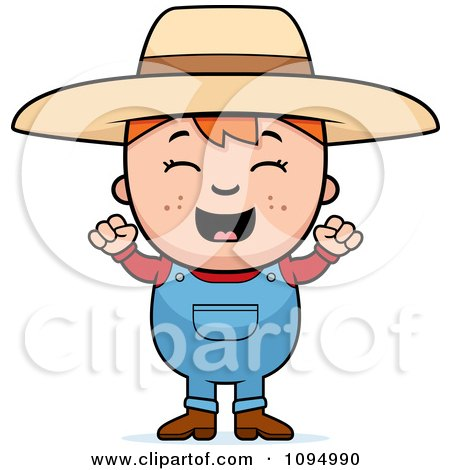 Clipart Happy Red Haired Farmer Boy - Royalty Free Vector Illustration by Cory Thoman