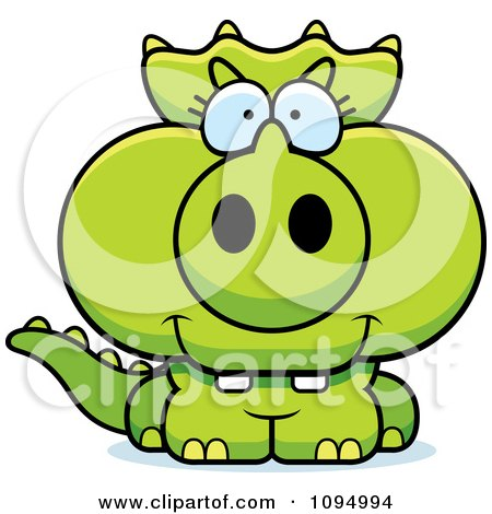 Clipart Green Baby Triceratops - Royalty Free Vector Illustration by Cory Thoman
