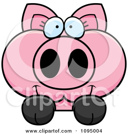 Clipart Piglet Looking Over A Surface - Royalty Free Vector Illustration by Cory Thoman