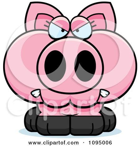 Clipart Angry Piglet - Royalty Free Vector Illustration by Cory Thoman
