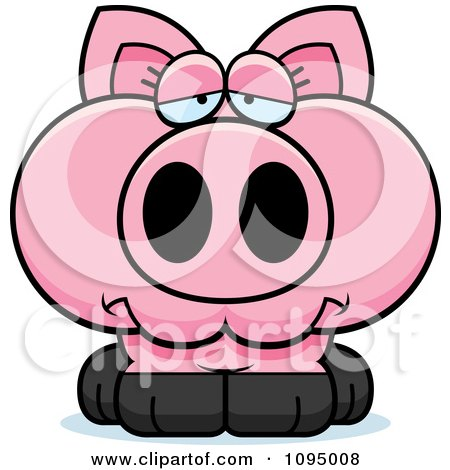 Clipart Depressed Piglet - Royalty Free Vector Illustration by Cory Thoman
