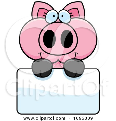 Clipart Piglet Holding A Sign - Royalty Free Vector Illustration by Cory Thoman