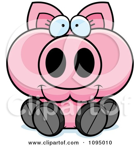 Clipart Piglet Sitting - Royalty Free Vector Illustration by Cory Thoman