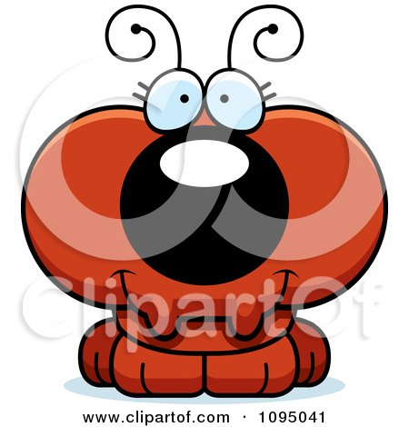 Clipart Cute Red Ant - Royalty Free Vector Illustration by Cory Thoman