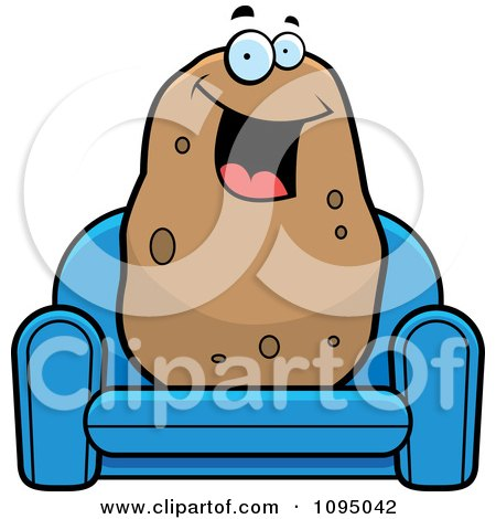 Clipart Happy Potato Sitting On A Blue Couch - Royalty Free Vector Illustration by Cory Thoman