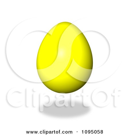 Clipart 3d Floating Yellow Easter Egg And Shadow - Royalty Free CGI Illustration by oboy