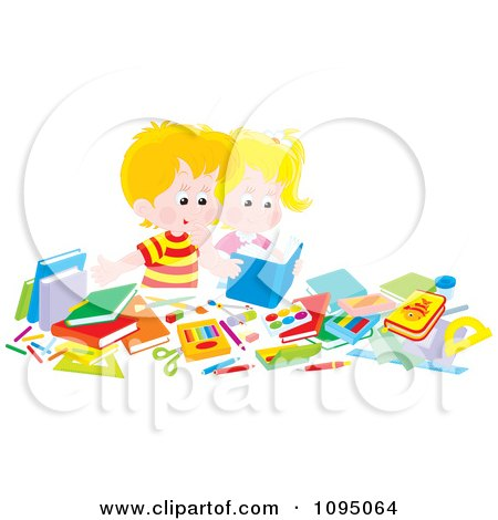 Clipart Blond School Boy Reading A Book At His Desk - Royalty Free Vector Illustration by Alex Bannykh